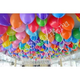 100 воздушных шариков под потолок
