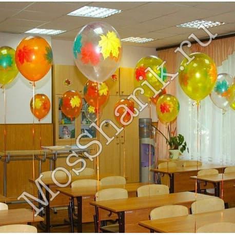 Воздушные шарики на 1е сентября: кленовые листья