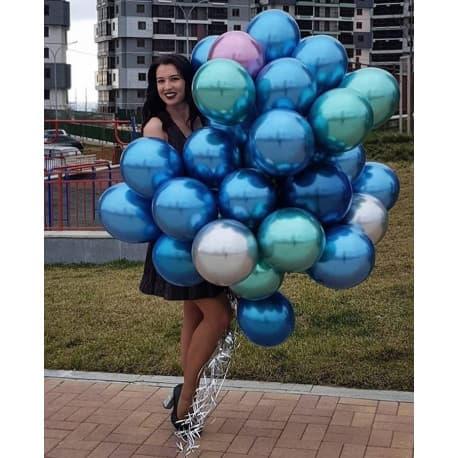 """Воздушные шарики: """"Хром"""" (цвета: синий, зеленый, фиолетовый)"""