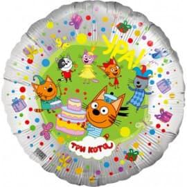 """Воздушный шарик из фольги """"Три кота"""" (серебро)"""