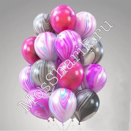 Воздушные шарики: Агаты. Микс (фешен + розовые + черные)
