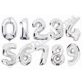 Воздушные шарики: цифра от 0 до 9 (серебро)