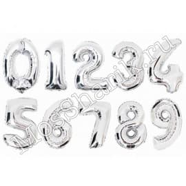 Воздушный шарик: цифра от 0 до 9 (серебро)