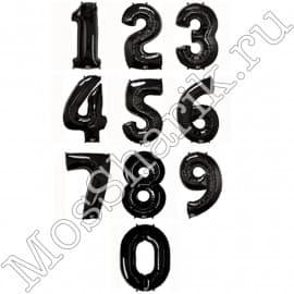 Воздушный шарик: цифра от 0 до 9 (черные)
