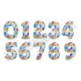 Воздушный шарик: цифра от 0 до 9 (с рисунком шариков)