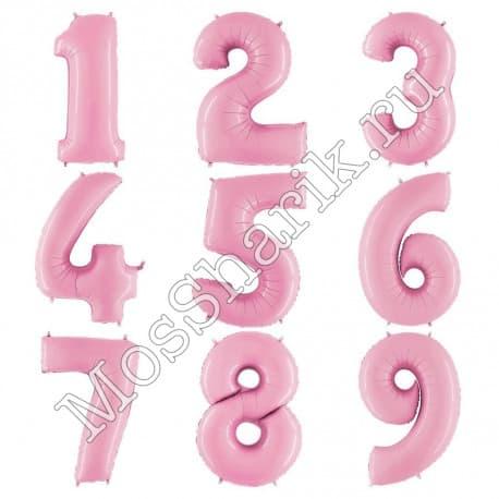 Воздушный шарик: цифра от 0 до 9 (нежно-розовые)
