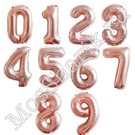 Воздушный шарик: цифра от 0 до 9 (розовое золото)