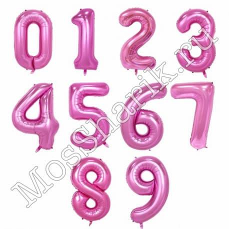 Воздушный шарик: цифра от 0 до 9 (розовые)