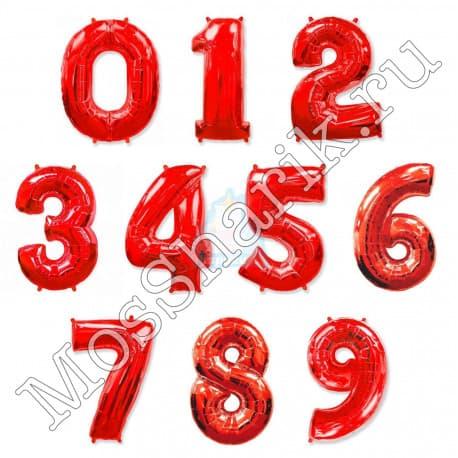 Воздушный шарик: цифра от 0 до 9 (красные)