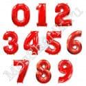 Красные воздушный шарики цифры от 0 до 9