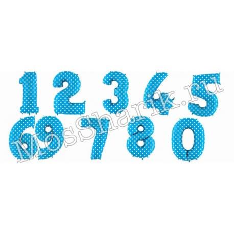 Воздушный шарик: цифра от 0 до 9 (голубая, горошек)