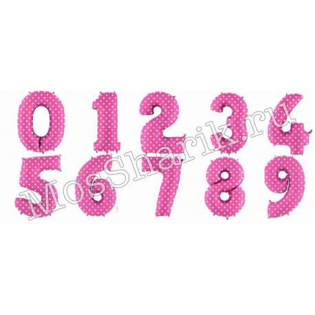 Воздушный шарик: цифра от 0 до 9 (розовая, горошек)