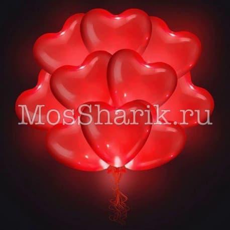 """Воздушные шарики: """"Светящиеся сердечки"""" (красные)"""