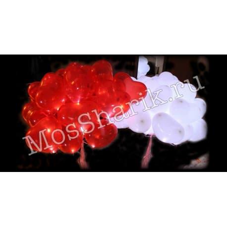 """Воздушные шарики: """"Светящиеся сердечки"""" (красные и белые)"""
