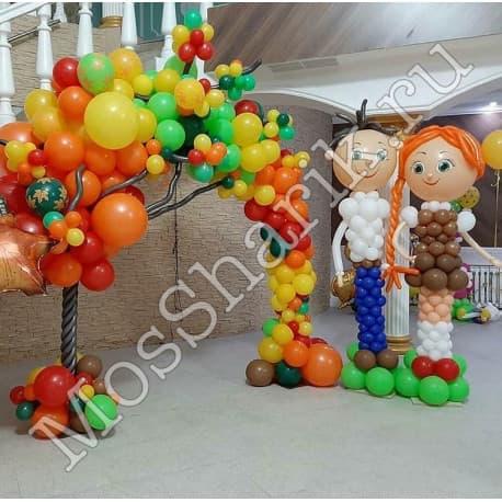 """Фигуры из шаров на 1 сентября: """"Ученик и ученица"""""""
